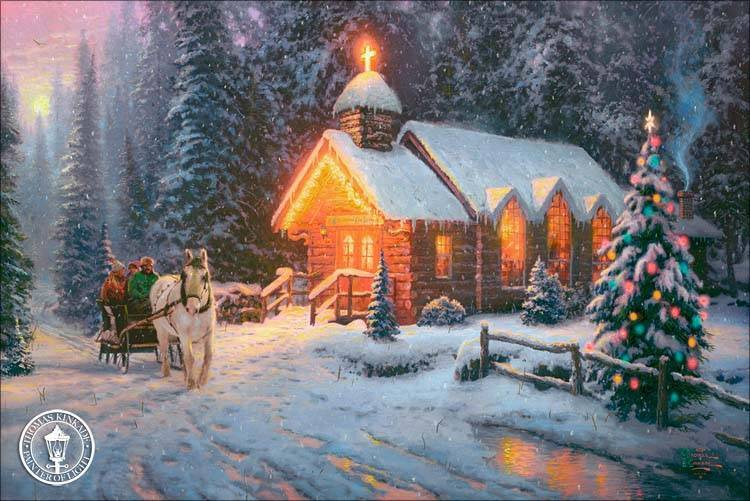 kinkade 2009 christmas chapel one art thomas gallery holiday painting